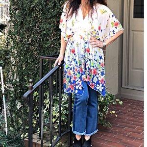 Tops - Asymmetrical chiffon floral kimono style tunic